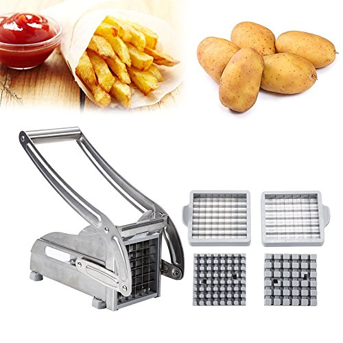 YIFAA Pommes Frites Schneider, Kartoffelschneider Edelstahl, Pommesschneider, Frittenschneider für Französische, Kartoffelschneider Gemüseschneider mit 2 Klingen, für Hausgemachte Pommes