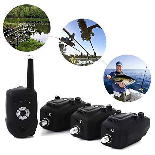Mounchain Allarme Pesca Carpa Avvisatori Carpfishing Accessori Con Centralina Indicatori Digitali Wireless di Abbocco 3 Emettitori e 1 Ricevitore