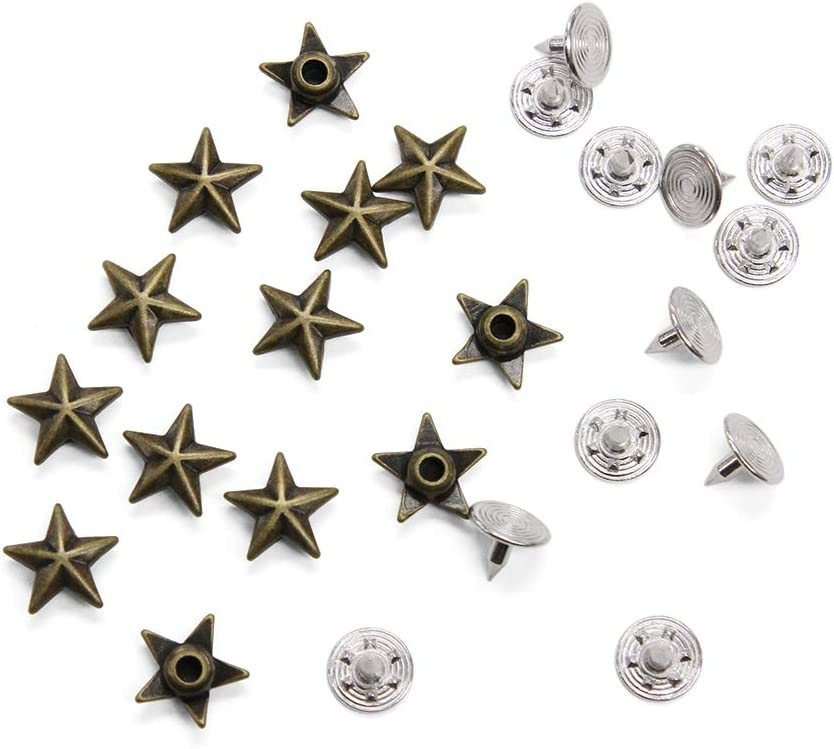 6 Ornamental Rivets RED STAR ROUNDED Old Brass Rivet Native American Fitting Rivets medieval Clothing Garb Accessories Conchos