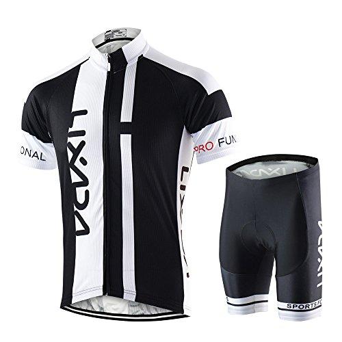Lixada Abbigliamento Ciclismo Uomo Set Camicia da Ciclismo a Maniche Corte Traspirante Quick-Dry e Pantaloncini Imbottiti in Gel Set Abbigliamento da Ciclismo MTB (Nero, XL(EU)=180-185CM,75-85kg)