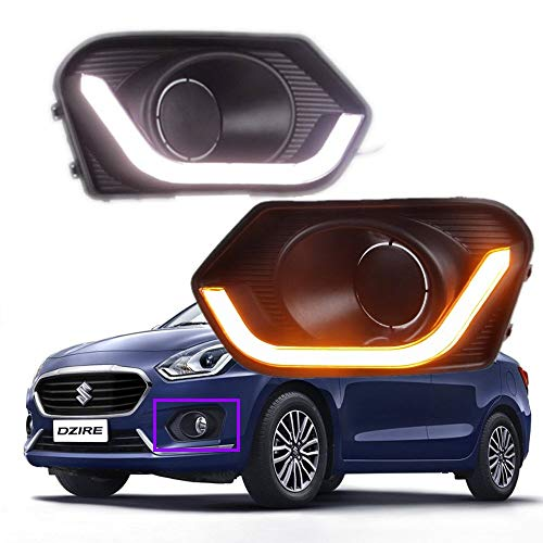 AupTech Off-Road White LED Daytime Running Lights Car LED DRL Driving Yellow Signal Function for Maruti Suzuki Dzire 2017 2018