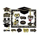 SWYOUN 18PCS Class Of 2021 Graduation Grad 2021 Party Masks Photo Props Decorations Supplies with Photo Frame