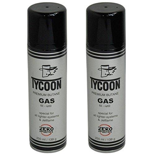 Tycoon Feuerzeuggas Gas 2x Dosen SET Jetflame Butangas Nachfülldose 250ml Dose