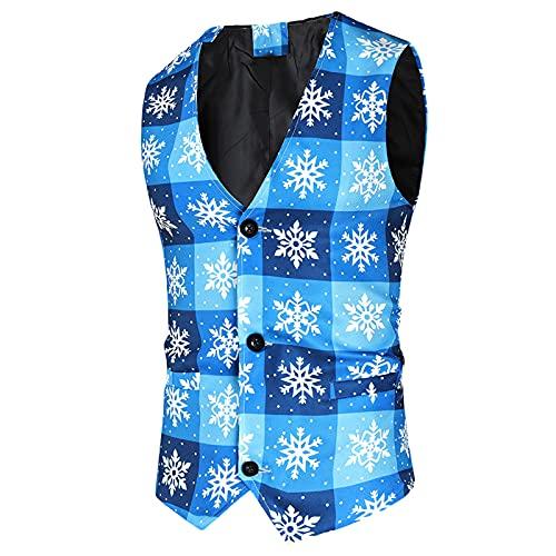 2021 Fashion Men's Classic Christmas Vest Suit Set Single Breasted Vest Xmas Formal Wedding Business Vest (Blue-1, XXL)