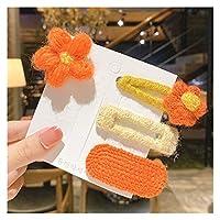 ヘアピン 3/4/7/7 / 9 PCS/セット子供かわいいナイロンソフト漫画フラワーフルーツヘアクリップ女の子甘い編み物のヘアピン子供のヘアアクセサリー 手作り (Color : Orange 4 Pcs)