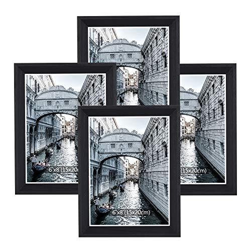 Metrekey Bilderrahmen 15x20 cm 4er Set Holz SchwarzVintage Glas Fotorahmen Portraitrahmen mit Halterung und Haken für Tischplatte und Wanddekoration