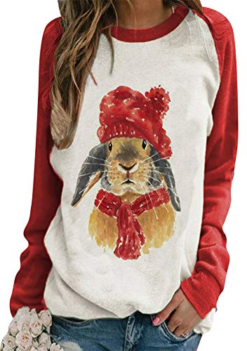 GRASWE Happy Easter Bunnies Rabbits Sweatshirt Summer Spring Long Sleeves Tops Casual Comfy Cotton Blouse Bunny Red M