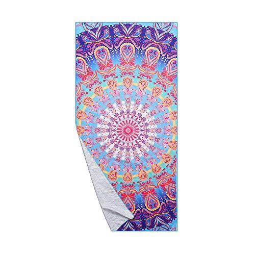 AtailorBird Telo Mare Grande Asciugamano Da Spiaggia In Microfibra 150 * 75Cm Bohemian Mandala Leggero Tasca Altamente Assorbente Asciugatura Rapid Per Yoga, Piscina, Picnic E Bagno (Modello 1)