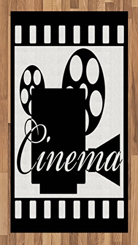 Ambesonne Movie Theater Area Rug, Monochrome Cinema Projector Inside a Strip Frame Abstract Geometric Pattern, Flat Woven Accent Rug for Living Room Bedroom Dining Room, 2.6' x 5', Black White