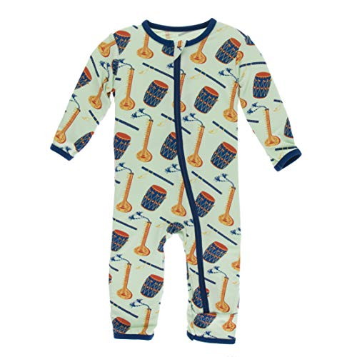 KicKee Pants Print Coverall with Zipper in Pistachio Indian Instruments, 0-3 Months