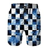 Bañador de Hombre,Tablero ajedrez Azul Grunge ajedrez abstracción Abstracta Blanca Tablero ajedrez Negro,Natación Secado Rápido Pantalones Cortos Shorts de Playa para Swim XL