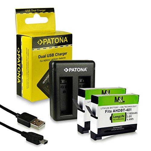 Dual Cargador AHBBP-401 + 2X Bateria para GoPro Hero 4 | Black Edition | Silver Edition | Music | Surf