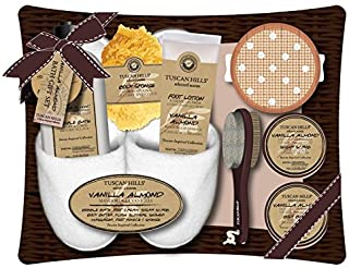 Tuscan Hills Vanilla Almond Bath & Body Gift Set With Slippers