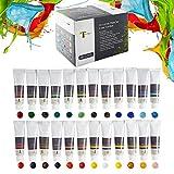 Tavolozza アクリル絵の具 24色 チューブ (24 x 23 ml / 0.8オンス) 収納ボックス付き キャンバス リッチな顔料 色あせない 非毒性 芸術家 ホビー ペインターズ 子供用
