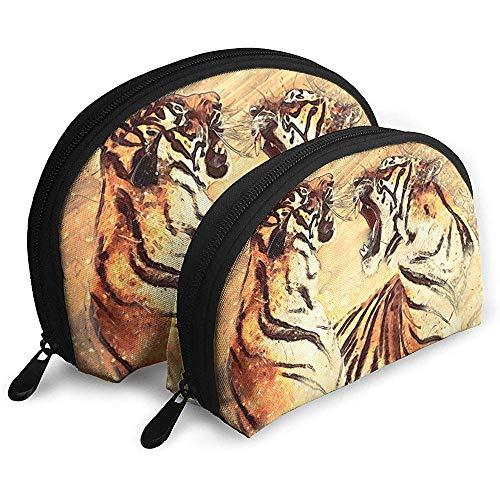 The Bengal Tiger Animal Predator Battle Tragbare Schminktäschchen Kulturbeutel Tragbare Multifunktions-Reisetaschen mit Reißverschluss