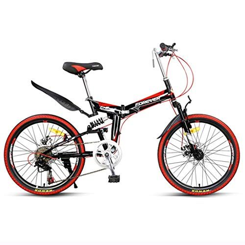 Folding Bikes Folding bicycle adult mountain bike men and women ultra light speed bicycle high carbon steel frame, 7 speed Bikes (Color : Red, Size : 22inches)