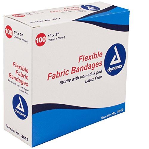 "Dynarex Flexible Fabric Adhesive Bandages - 3612, Box of 100 1"" X 3"""