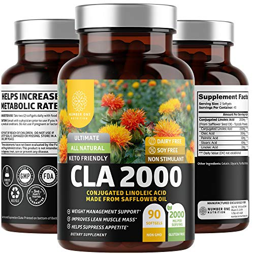 N1N Premium CLA 2000 [Max Strength, Non-Stimulant] Natural Weight Loss Supplement for Men & Women, Active Conjugated Linoleic Acid from Safflower Oil for Healthy Weight & Lean Muscle Mass, 90 Softgels