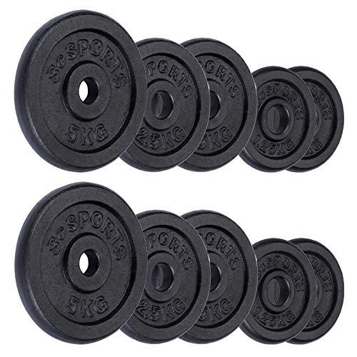 ScSPORTS 25kg Hantelscheiben-Set 2X 5kg, 4X 2,5kg, 4X 1,25kg Guss Gewichte mit 30/31 mm Bohrung