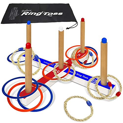 Ring Toss Deluxe – Includes 16 Rings, 8 Rope & 8 Plastic. Carry Bag Included – Easy to Assemble – Fun Family and Friends Toss Yard Games for Kids – Outdoor Toys for Kids