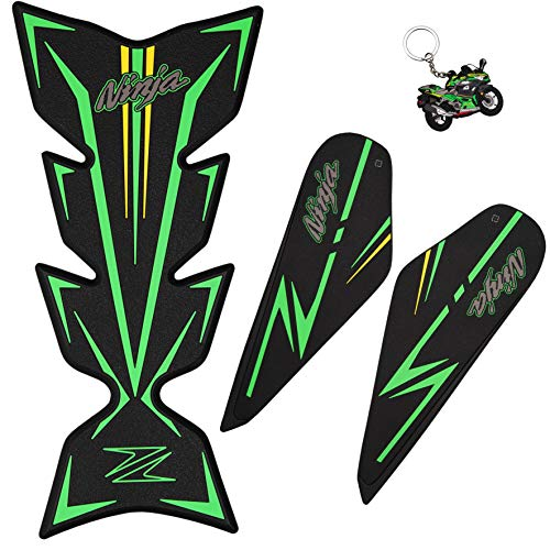 REVSOSTAR Gas Tank Pad, Rubber Cover with Knee Fuel Side Grip, Anti Slip Protector Stickers Decals Accessories for Ninja 400 (with Keychain)