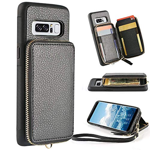 Samsung Galaxy Note 8 Wallet case, 6.3 inch,ZVE Leather Wallet Case with Credit Card Holder Slot Zipper Wallet Pocket Purse Handbag Wrist Strap Protective Cover for Samsung Galaxy Note 8 - Black