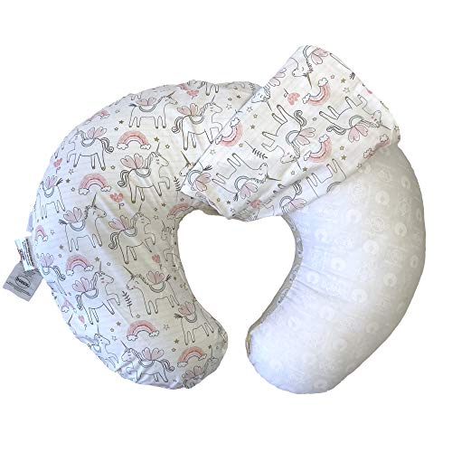 Boppy Original funda de almohada de lactancia, tela de mezcla de algodón, unicornios rosas