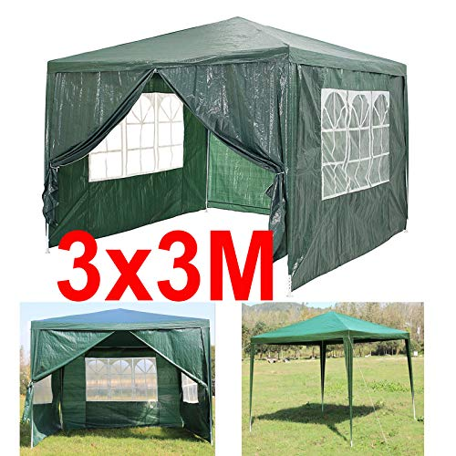 Waterproof Gazebo Party Tent Gazebo 3x3M Marquee with Removeable Side Panels Canopy Event Dome Shelter, Extra Thick Steel Frame, Green, Compact storage,Easy to Install,120g PE Cover