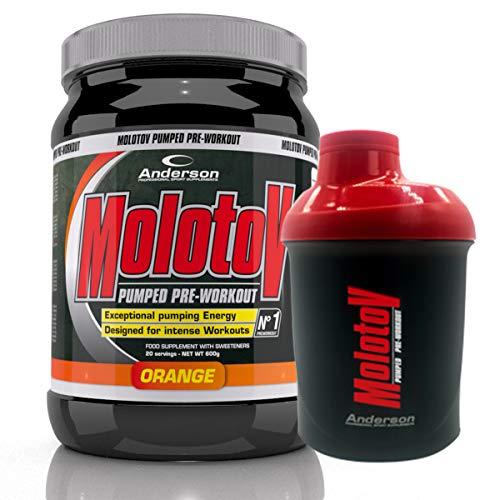 Suplemento Molotov Anderson + Shaker Pre Workout Pump Booster Aminoácidos 24 ingredientes naranja