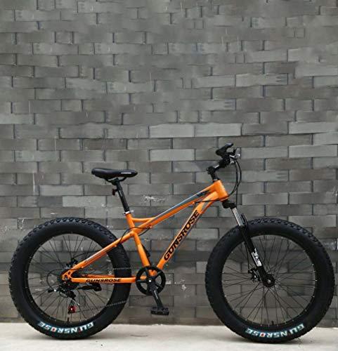 AISHFP Fat Tire Adulto Bicicleta de montaña, Marco Doble Freno de Disco de Acero de Alto Carbono/Bicicletas Cruiser, Playa de Motos de Nieve de Bicicletas, Ruedas de 26 Pulgadas
