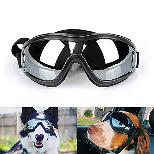 NAMSAN Dog Goggles UV Protection Dog Sunglasses Medium to Large Dogs Eyewear for Wind, Dust, Snow Protection, Adjustable Elastic Straps Pet Glasses
