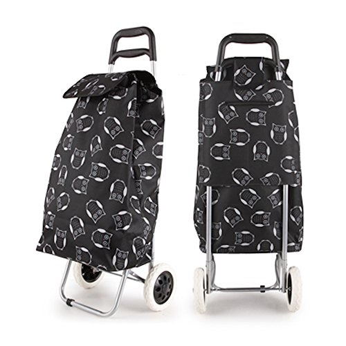 Large Folding Wheeled Funky Shopping Trolley - Strong, Waterproof & Light (Owl Black & White)