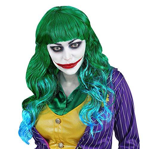WIDMANN 02077 Perücke Evil Joker, Damen, Grün/Blau