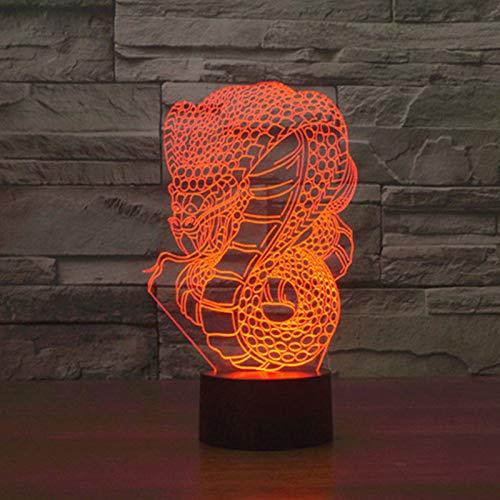 BFMBCHDJ Cobra Tischlampe 7 Farben Ändern Schreibtischlampe 3D Lampe Neuheit Led Nachtlichter Led Licht