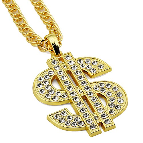 Street Hiphop Placcato Oro con Cristallo lucente dollaro americano ciondolo catena lunga collana per uomo e donna