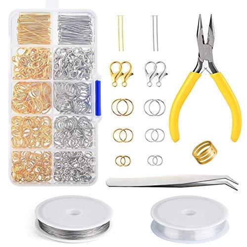 YuuHeeER Kit de fabricación de joyería de plata y oro cierres de langosta abiertos anillos de salto rosa Hallazgos de joyería kits de fabricación de