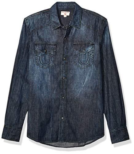 True Religion Herren LS Shirt SN Button Down Hemd, Glänzende Virale, Groß