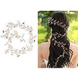 Alambre para el pelo, 50 cm / 100 cm, adorno para el pelo, perlas, brillantes, para novia, boda, comunión, peineta para el pelo, tocado, diadema con perlas y cristales, para mujeres y niñas
