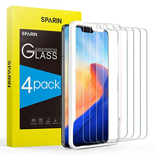 [4 Pack] OnePlus 6 Screen Protector, SPARIN Tempered Glass Screen Protector with Alignment Frame/Highly Definition / 9H Hardness