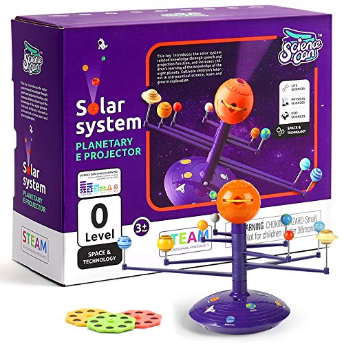 Science Can Solar System for Kids Planetarium Projector, Glow in The Dark Planet Model Kit, STEM Learning Toy for Kids Ages 3-5