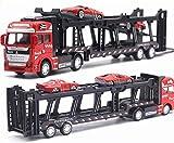 YGB Toy Car Alloy Transporter 1:48 Die-Cast Pull Back Model Car Multifuncional Transporte Remolque Simulación Apariencia y diseño de Escalera Coches y Camiones de Juguete (Color: Rojo)