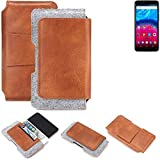 K-S-Trade® Schutz Hülle Für Archos Core 57S Gürteltasche Gürtel Tasche Schutzhülle Handy Smartphone Tasche Handyhülle PU + Filz, Braun (1x)
