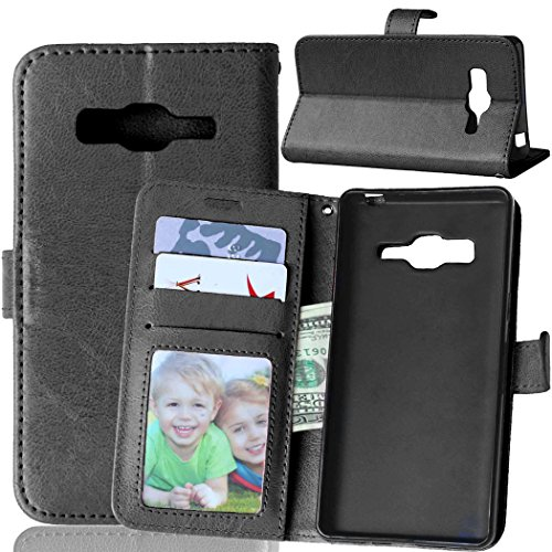 Fatcatparadise Kompatibel mit Samsung Galaxy Z3 Hülle + Bildschirmschutz, Flip Wallet Hülle mit Kartenhalter & Magnetverschluss Halterung PU Leder Hülle handyhülle (Schwarz)