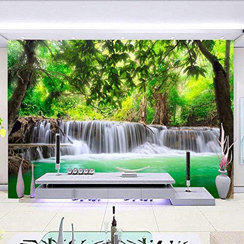 Fotobehang Bos Waterval 3D Riettextuur Niet-geweven Premium Art Print Fleece Muurschildering Poster voor Woonkamer TV Achtergrond Muur 157.48x110.23 inch