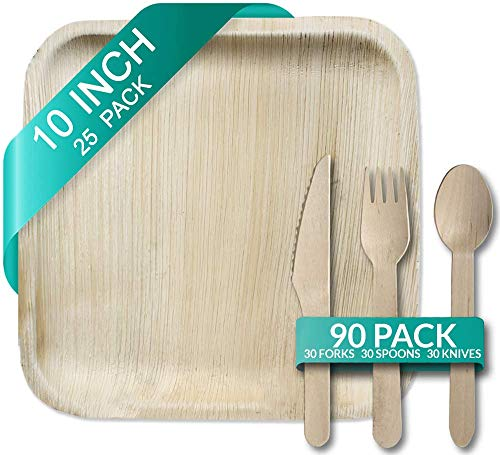 "Palm Leaf Plates 10"" and Wooden Cutlery Bundle 