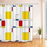 XCBN Patrón Azul Pintura Moderna Abstracta Mondrian Color Bauhaus Impermeable Tela de poliéster Cortina de Ducha A1 90x180cm
