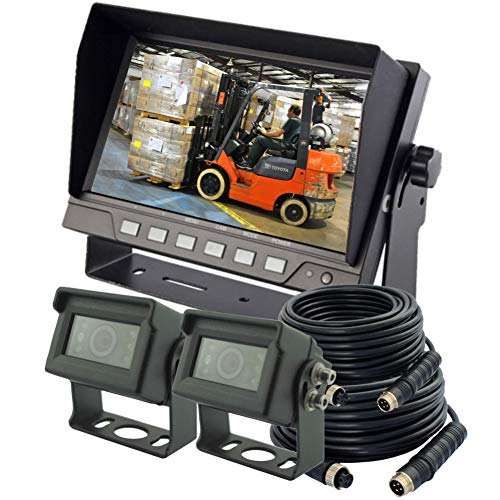 """AUTOPAL 7"""" Wired Reverse Rear View Backup Camera System, 2 Cameras, with TVS Protector, Guide line,Waterproof IP69K, Night Vision, Vibration-Proof 10G for Tractor/Truck/RV/Skid Steer/Heavy Equipment backup Cameras Vehicle"""