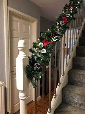 Fireplace Christmas Garland 6ft Swag 40 White Lights