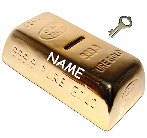 alles-meine.de GmbH XL Spardose  Goldstück - Goldbarren  - stabile Sparbüchse mit Schlüssel - incl. Name - aus Porzellan / Keramik - Sparschwein lustig witzig - Reich - für Erw..