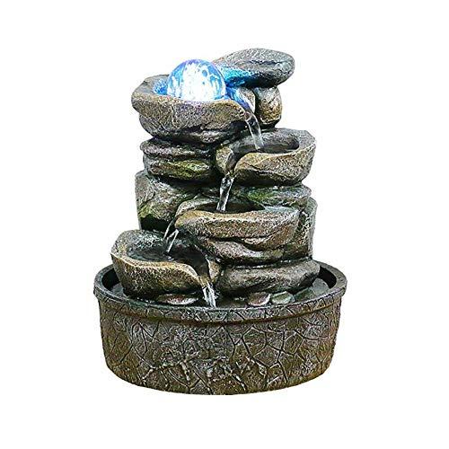 HQZ Tisch-Brunnen Springbrunnen, dekorativer Tischbrunnen für das Büro zu Hause-Harz-D: 20,5 * 20,5 * 25 cm
